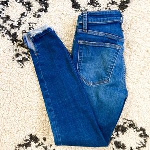 Joe's Skinny Jeans in Medium Wash with Raw Hem